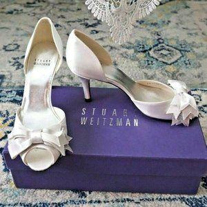🆕Stuart Weitzman Bridal Peep Toe Bow Pump Wedding